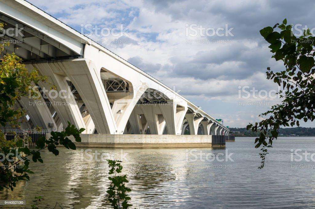 View of a Road Bridge across a River stock photo