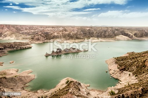"""istock View of a rock formation called """"The Submarine"""", in Lake Valle Grande. San Rafael, Mendoza, Argentina. 1303214899"""