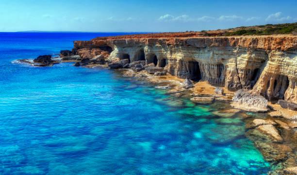 a view of a sea shore in kavo greko nenar aiya napa, cyprus - cyprus стоковые фото и изображения