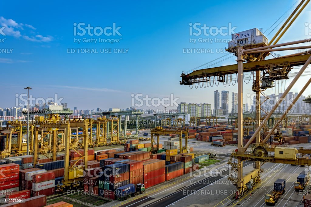 A view of a Singapore Container Terminal. stock photo