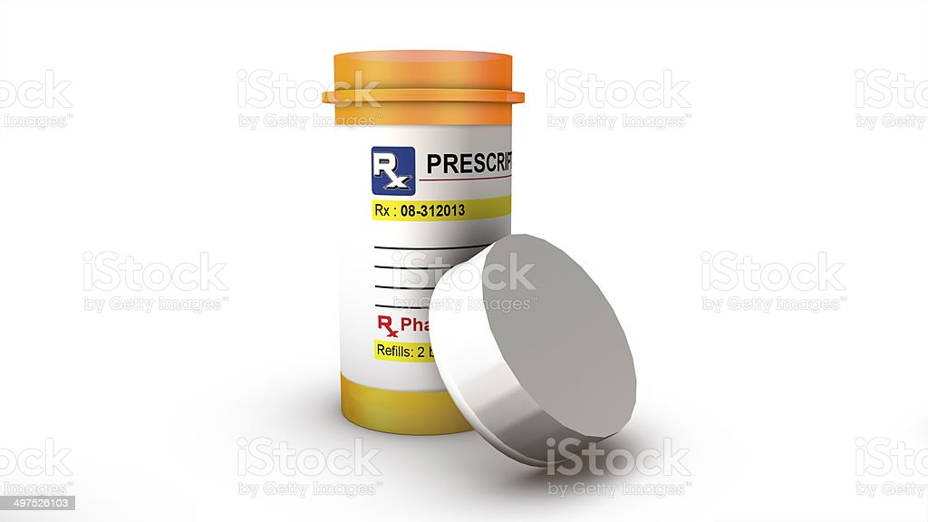 View of a single empty pill bottle stock photo