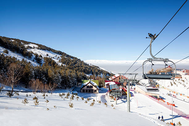 view of a skiing resort - erzurum stockfoto's en -beelden
