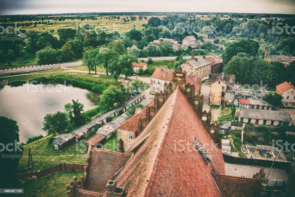 View of a small town and a tile church roof stock photo