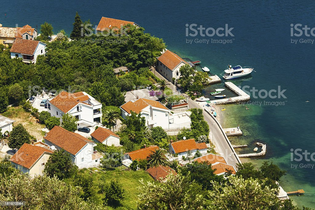 View of a small town by the sea royalty-free stock photo