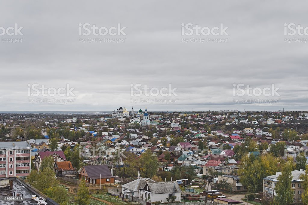 View of a small town stock photo