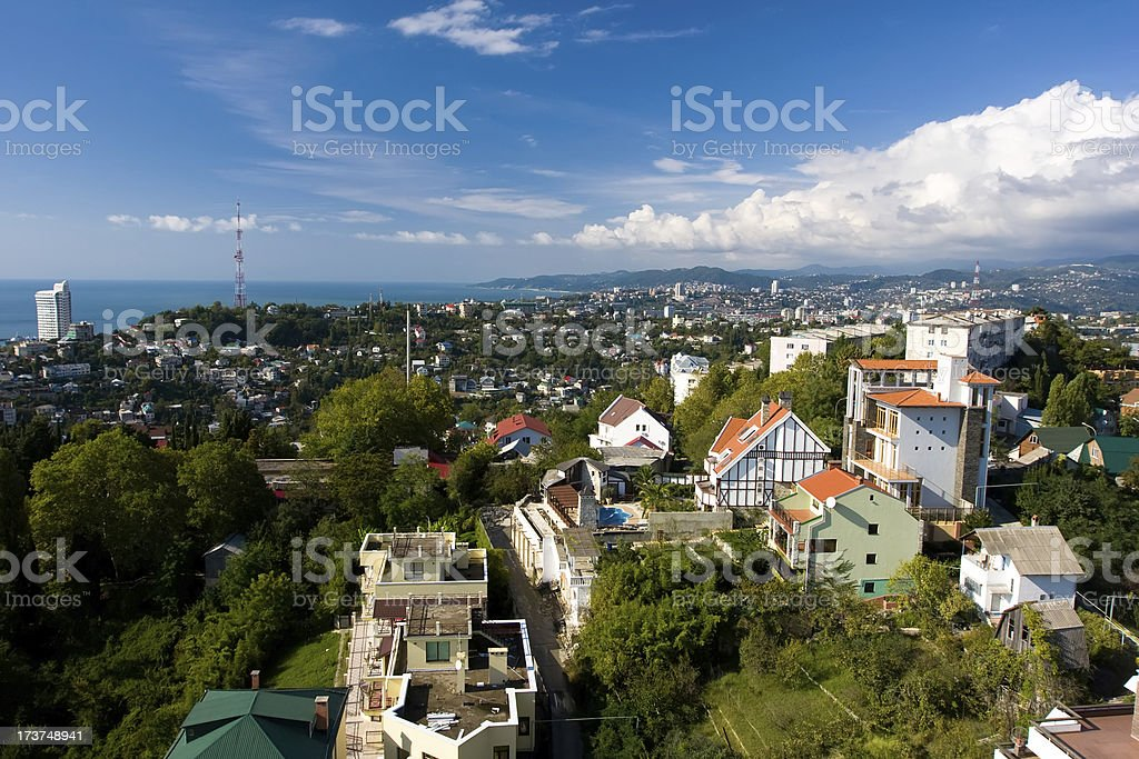 View of a Sochi from arboretum's oservation deck royalty-free stock photo