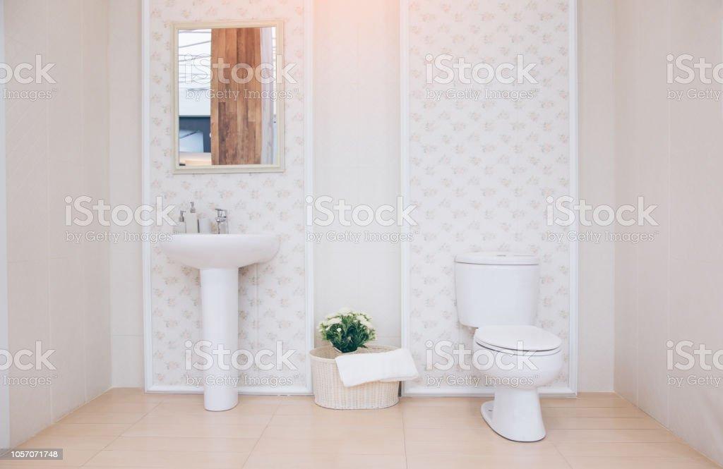 Vista De Un Cuarto De Baño Espacioso Y Elegante Moderno Baño ...