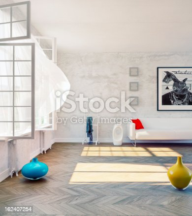 istock View of a sparsely decorated modern loft with open windows 162407254