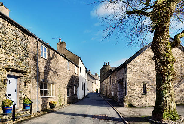 view of a street in cartmel, cumbria with tree - cumbria stock photos and pictures