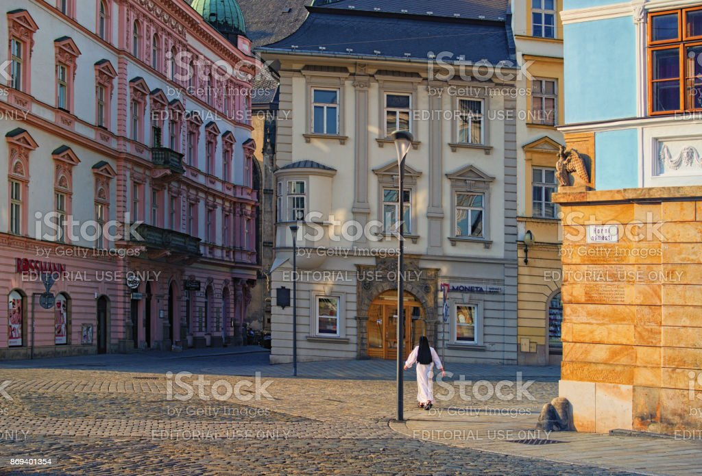 View of a street in the center of the czech city Olomouc stock photo