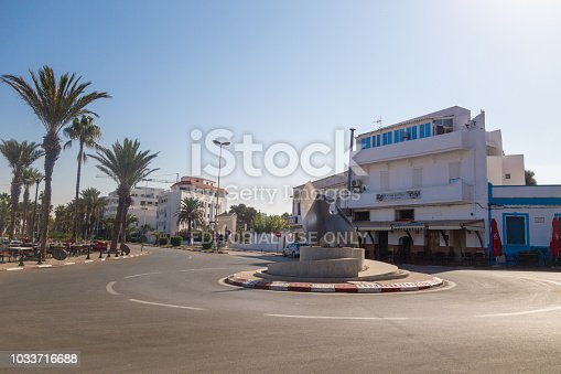 Asilah, Morocco - 8 September 2018 - view of a street in the medina of Asilah
