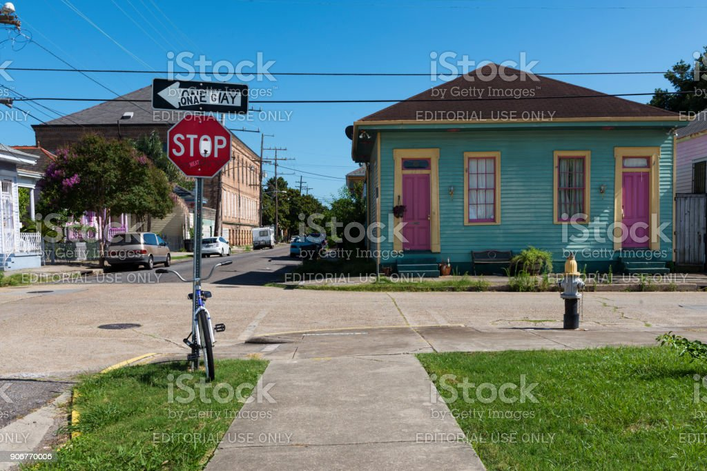 View of a street with colorful houses in the Marigny neighborhood in the city of New Orleans, Louisiana stock photo