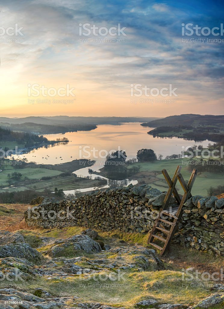 View of a sunrise over Windermere in the Lake District stock photo