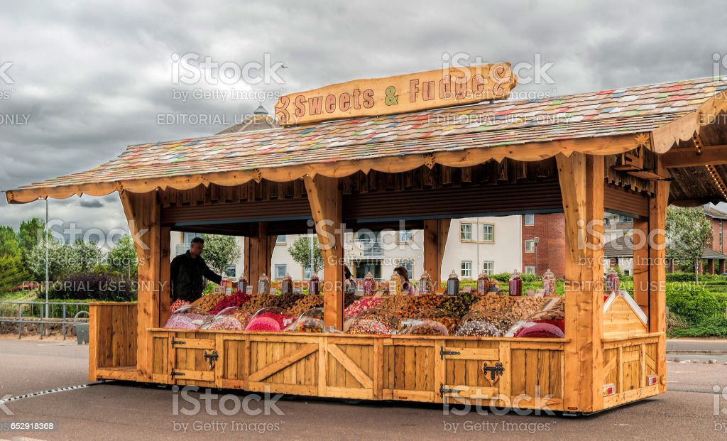 Minehead, UK - July 27, 2016: view of a sweet stall at Minehead fairground in UK. stock photo