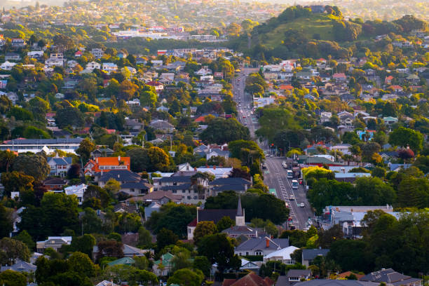 View of a town in Auckland, New Zealand. View from Mt. Eden. stock photo