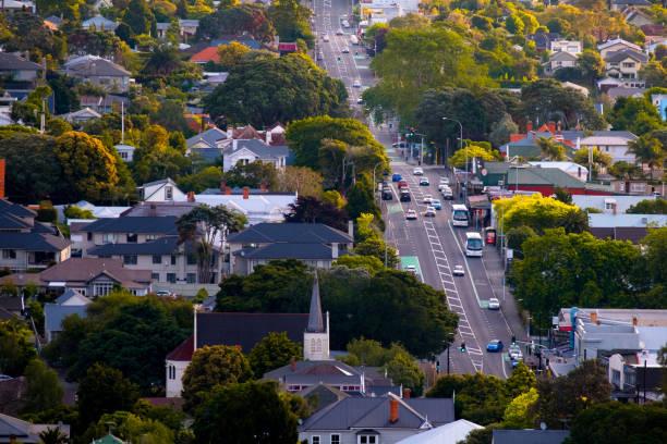 Stadtansicht in Auckland, Neuseeland. Blick vom Mt. Eden. – Foto