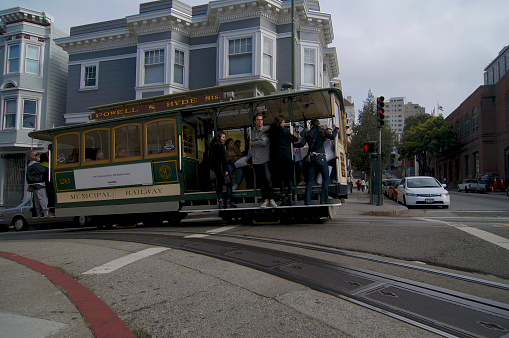 View of a typical Cable Car of San Francisco