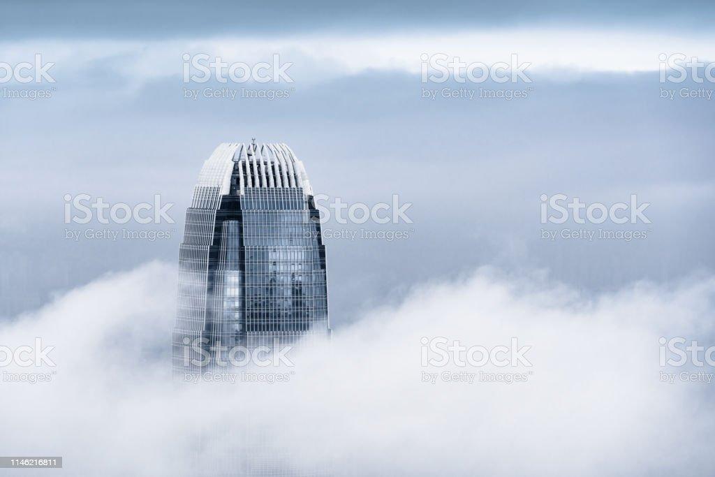View of a very foggy Hong Kong - Royalty-free Alterações climáticas Foto de stock