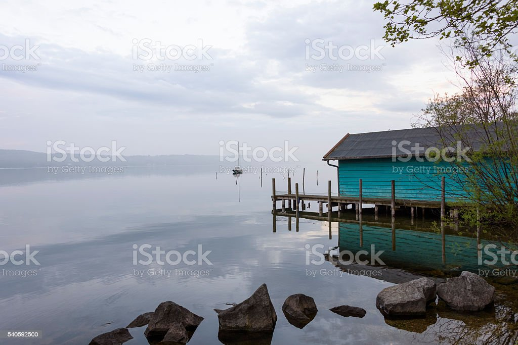 View of a wooden house on stanberg lake stock photo