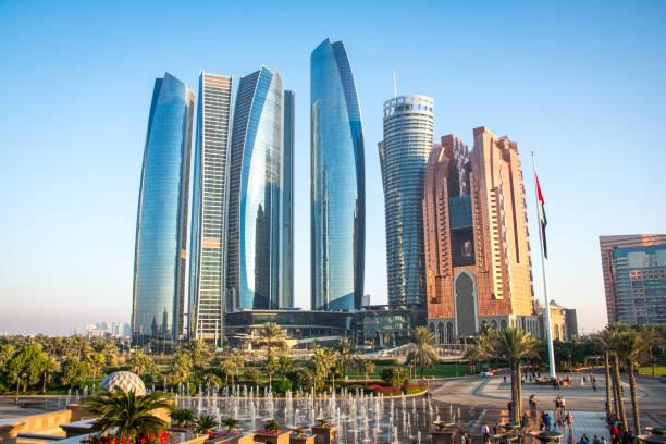 View of Abu Dhabi city, United Arab Emirates stock photo