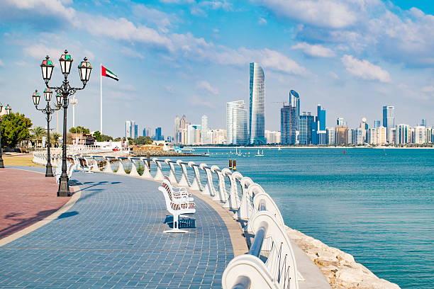 view of abu dhabi in the united arab emirates - abu dhabi stok fotoğraflar ve resimler
