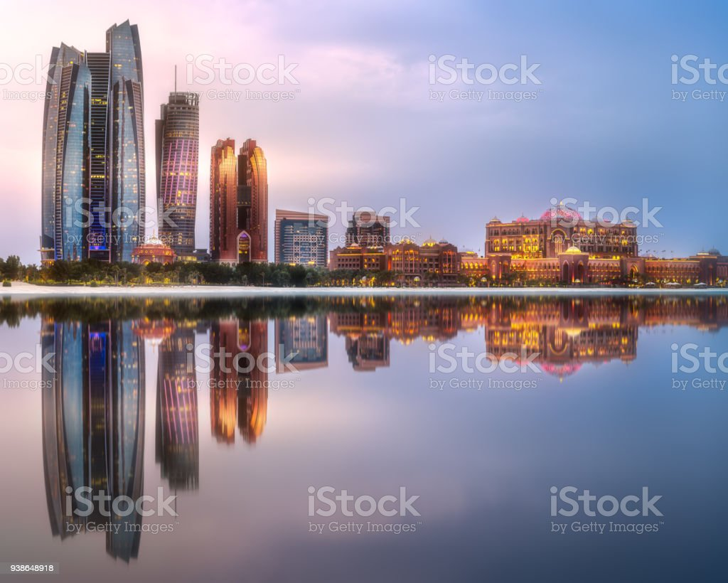 View of Abu Dhabi Skyline at sunrise, UAE stock photo