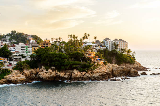 View of Acapulco in evening, Mexico stock photo