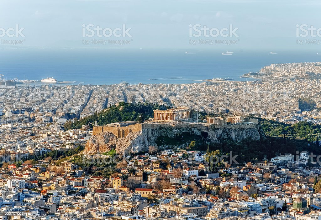 View of Acropolis in Greece stock photo
