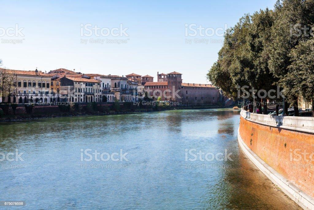 view of Adige river with Castelvecchio in Verona stock photo
