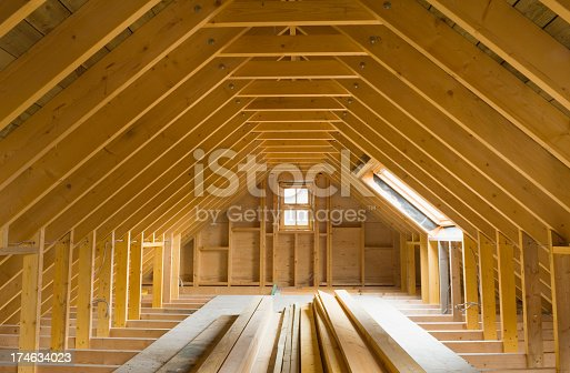 istock View of A-frame attic in a newly-built home 174634023