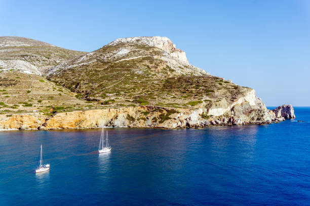 View of Agali coast, Folegandros Island, Cyclades, Aegean Sea stock photo