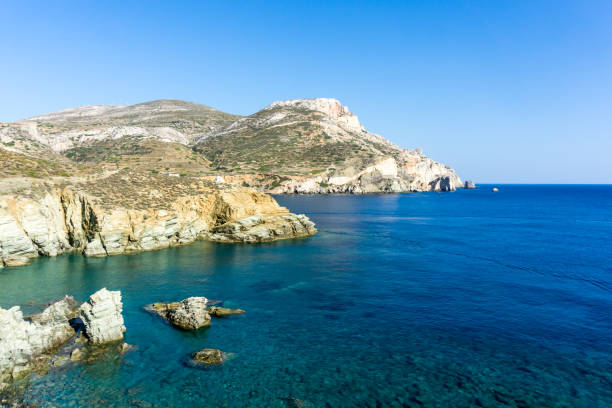 View of Agali coast, Folegandros Island, Cyclades stock photo