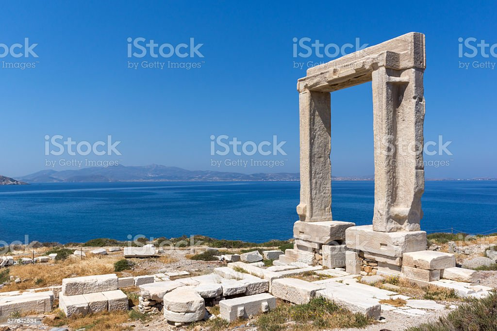 View of Agean sea and Portara, Apollo Temple Entrance, Naxos stock photo