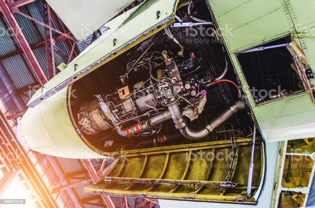 View of aircraft tail and auxiliary power unit. stock photo