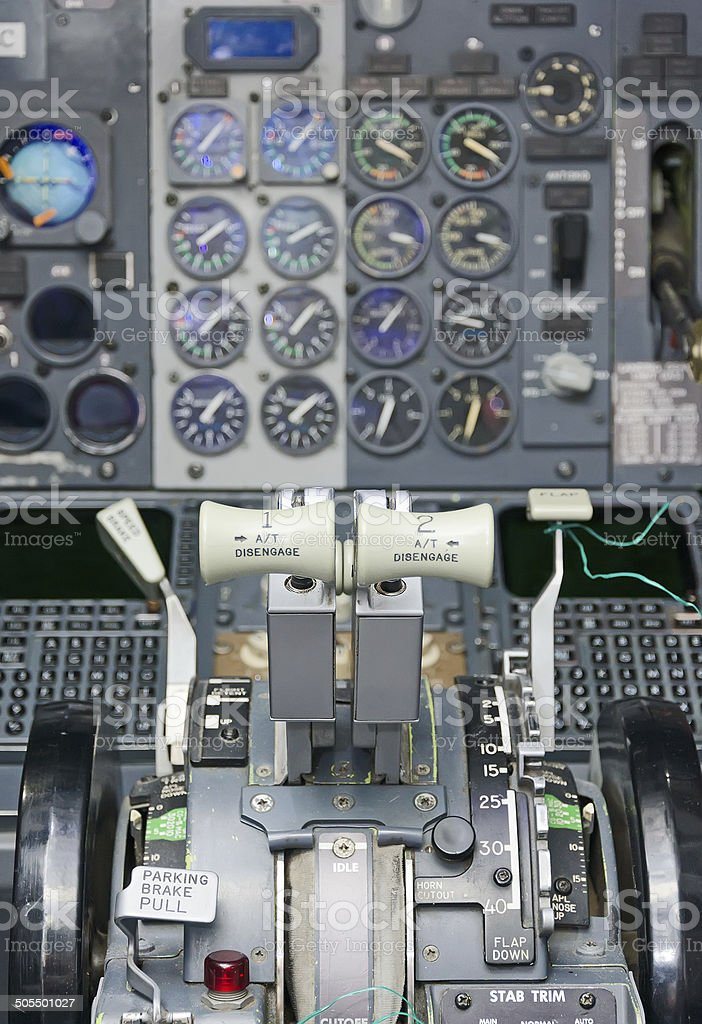 View of aircraft thrust lever in pilot's cabin. stock photo