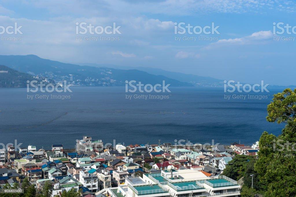 View of Ajiro and Sagami Bay stock photo