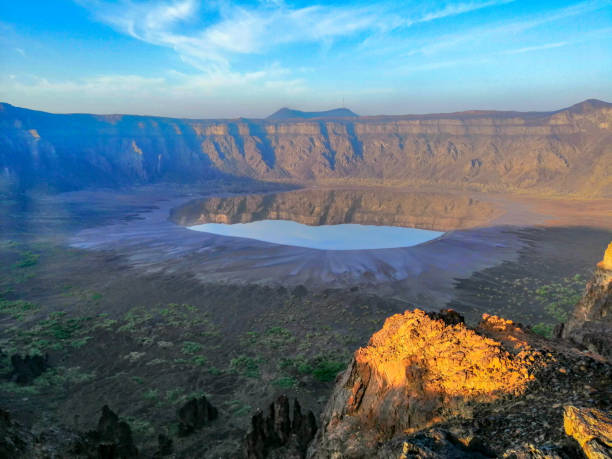 A view of Al Wahbah Crater at sunrise stock photo