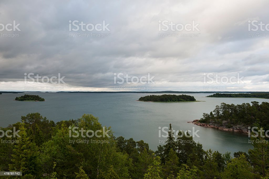 View of Aland Islands from Bomarsund Fortress stock photo