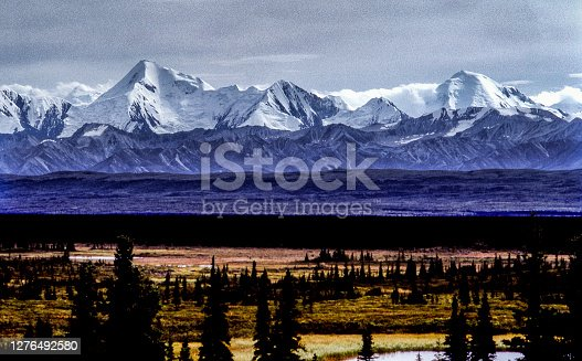 istock View of Alaskan Tundra and Distant Mountains 1276492580