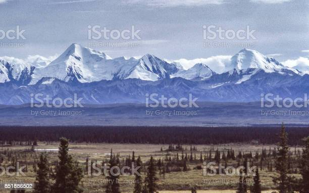 View of Alaskan Tundra and Distant Mountains