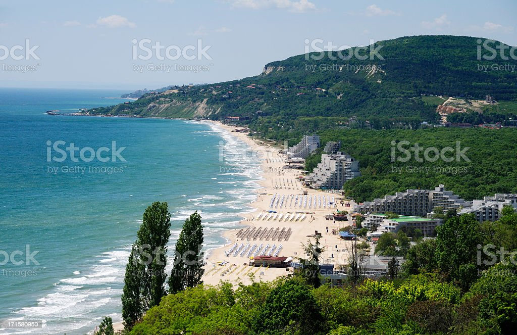 View of Albena resort near Varna, Bulgaria stock photo