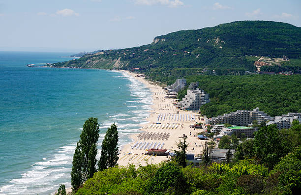 View of Albena resort near Varna, Bulgaria Albena resort, at Black Sea, near Varna, Bulgaria. Panoramic view. bulgaria stock pictures, royalty-free photos & images