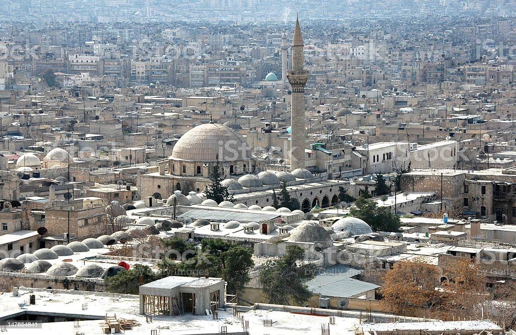 View of Aleppo from the citadel stock photo