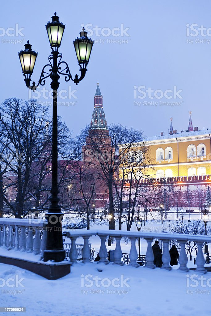 view of Alexander Garden in winter snowing evening, Moscow royalty-free stock photo