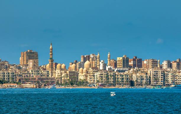 View of Alexandria harbor, Egypt stock photo