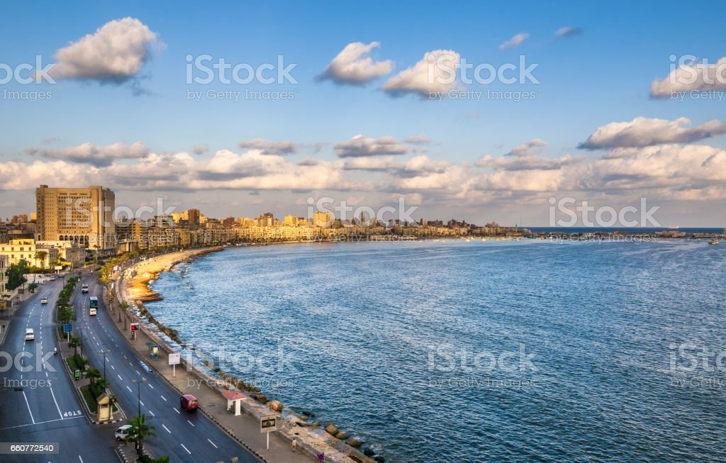 View of Alexandria harbor, Egypt stock photo