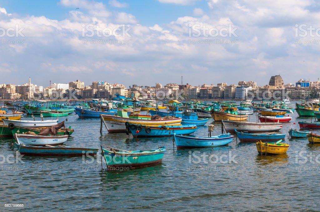 Vista para o Porto de Alexandria, Egito - foto de acervo