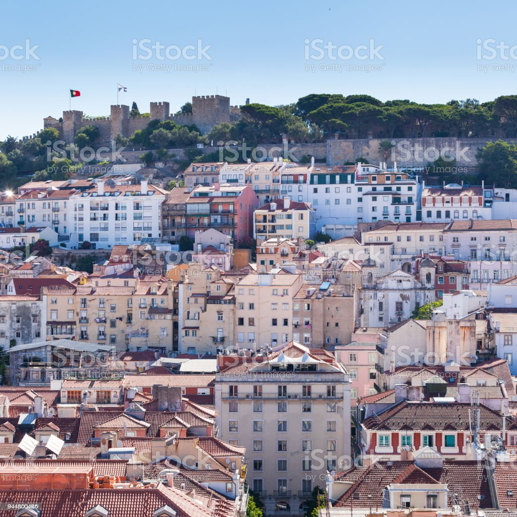 View of Alfama and St. George's Castle stock photo