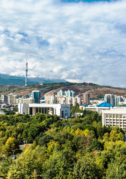 View of Almaty city stock photo