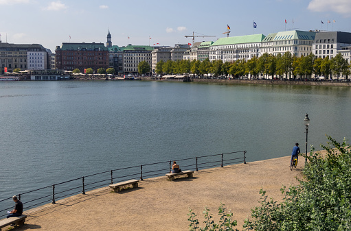 View of Alster Lake and famous buildings in center of Hamburg, Germany.